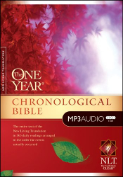 "<a href=""http://www.amazon.com/One-Year-Chronological-Bible-NLT/dp/1414336527/"" target=""blank"">Chronological Audio Bible</a>: <a href=""http://www.amazon.com/One-Year-Chronological-Bible-NLT/dp/1414336527/"" target=""blank"">MP3 CD's</a>"