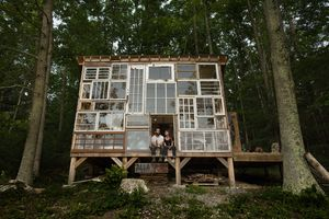 Cabin made of repurposed windows
