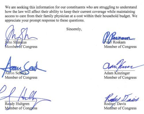 Illinois GOP Delegation Demands Insurance Cancellation