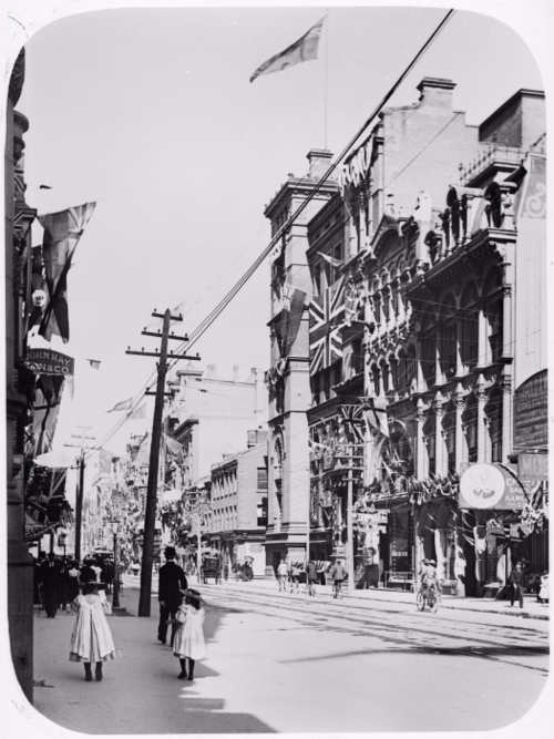 Decorations For Diamond Jubilee Queen Victoria, 1897, Toronto, King St. West looking east from west of Jordan St.