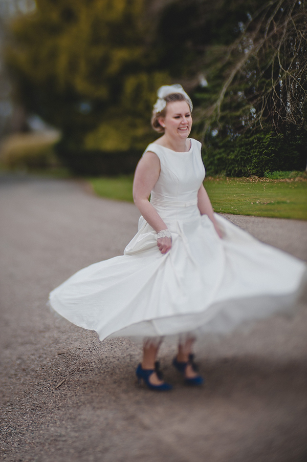 1950a Audrey style wedding dress by Blue Bridal Quirky Scotish Wedding Zoe Barrie Photography