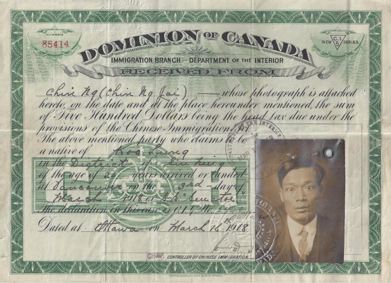 Head tax certificate $500 - Jim Ng 1918