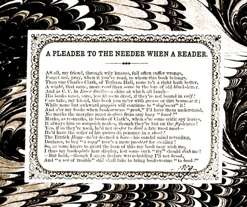 Clark's bookplate poem 'A Pleader to the Needer when a Reader'.