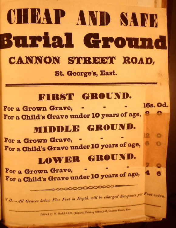 List of charges for burial ground at St George-in-the-East in Stepney