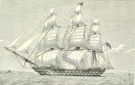 East Indiaman - ship sailing in the open sea