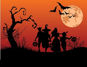 Halloween background with children