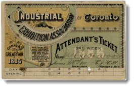 Industrial Exhibition Association of Toronto: attendant's ticket