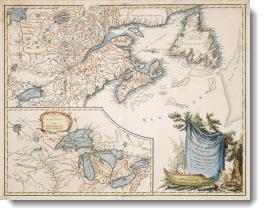 Partie de l'Amerique Septentrionale qui comprend la Nouvelle France ou le Canada, par le Sr. Robert de Vaugondy Geog? Ordinaire du Roy. Avec privilege 1755