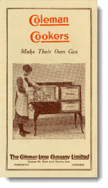 Coleman cookers: make their own gas, 1920