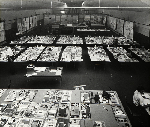Architectural models at Horticultural Building, City Hall and Square Competition, Toronto, 1958