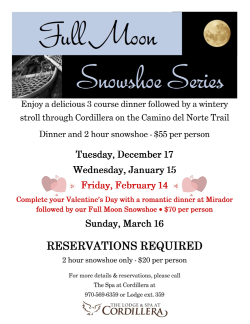 Full Moon & Snowshoe Series at Cordillera Lodge
