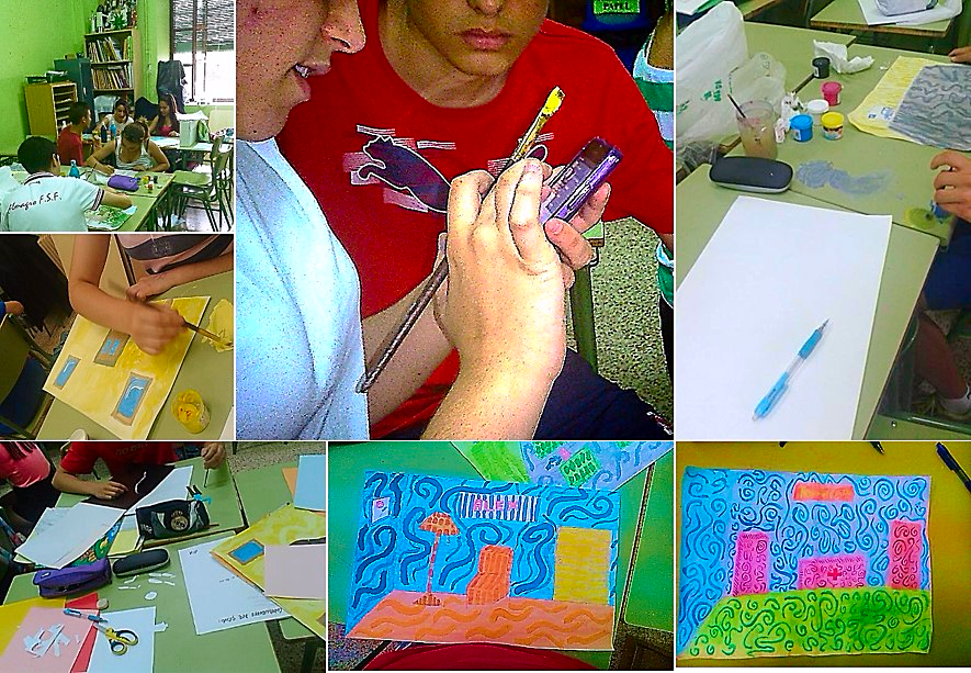 Estudiantes de 3º de ESO en la asignatura de Educación Plástica, realizando la actividad: Diferente es excepcional: empatizando, creada por la profesora Inmaculada Contreras, formando parte del Proyecto 'Maderas que son violines'