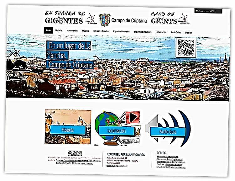 Web Tierra de Gigantes. Proyecto didáctico: Estudiantes de 1º de bachillerato