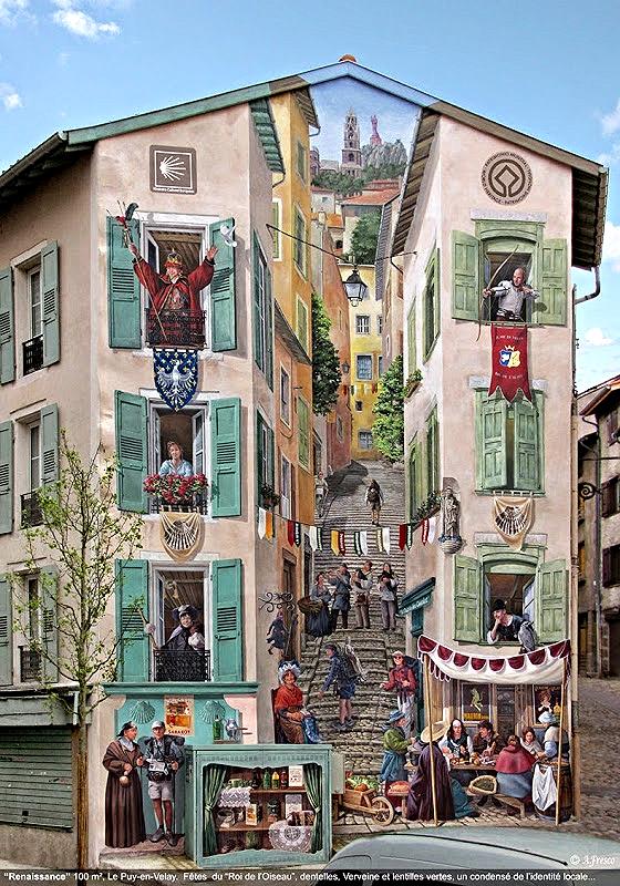 Mural en la ciudad de 'Le Puy-en-Velay'. Falsas fachadas. Inteligente arte en la calle de Patrick Commecy