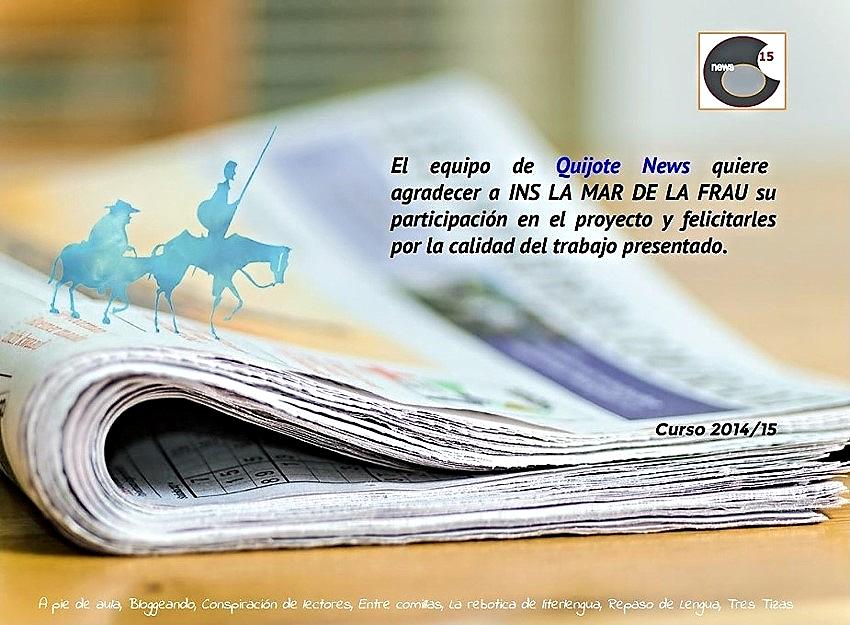 Diploma acreditativo de participación en el Proyecto Quijote News.