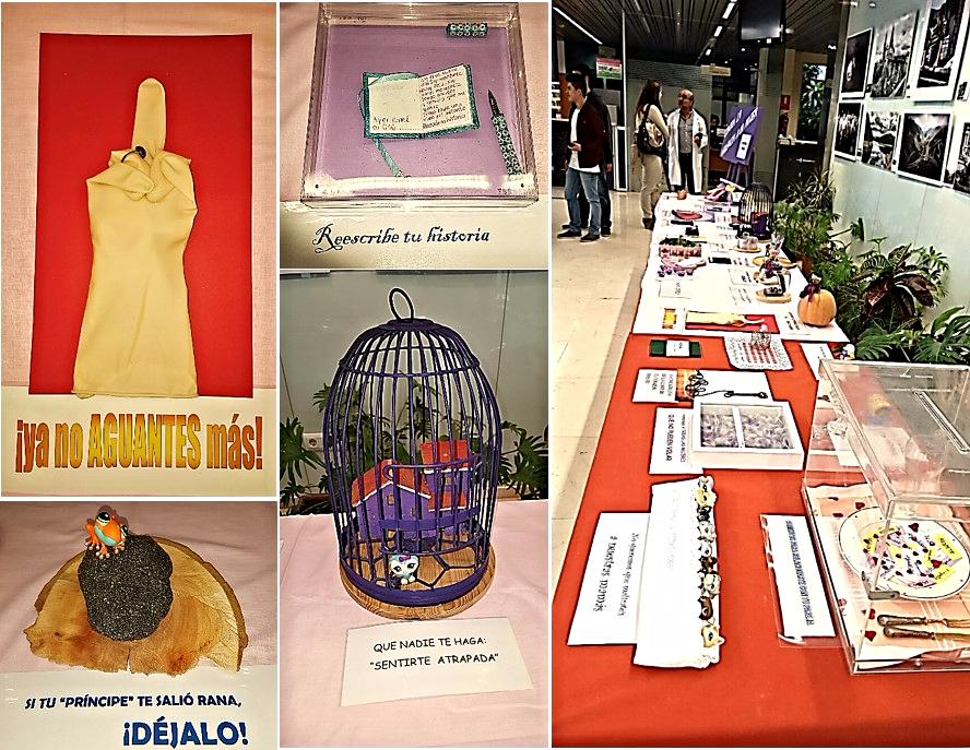 Producciones de los estudiantes de la asignatura de Educación Plástica, Visual y Audiovisual de 4º curso de la ESO del Instituto Público de Educación Secundaria 'Trayamar' de Algarrobo (Málaga), dentro del Proyecto artístico expositivo 'Metáforas visuales contra la violencia a la mujer'