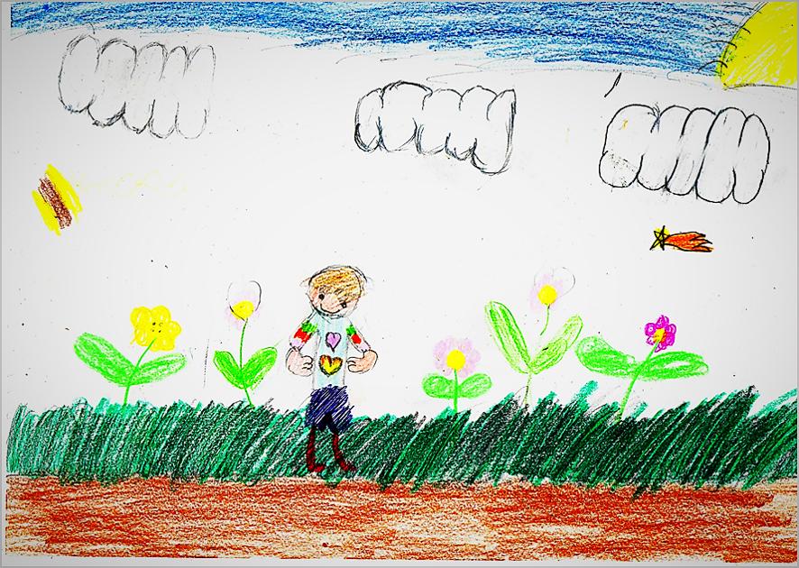 Ilustración del cuento de Jeremías y el Corazón Mágico, creado por el alumnado de 2º curso (B) del Colegio 'El Murtal'