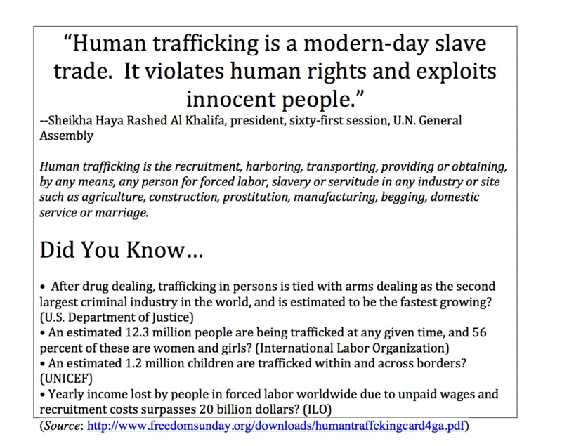 Human trafficking is a modern