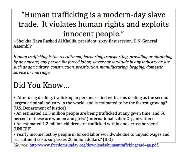 Human trafficking is a modern