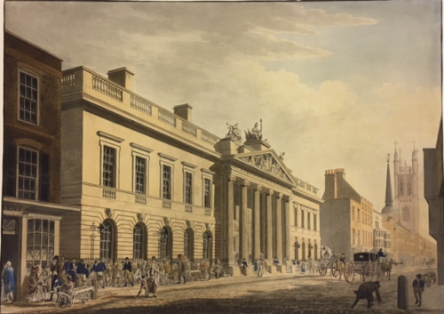 The East India House, Leadenhall Street by James Elmes, 1803, as rebuilt by Richard Jupp and Henry Holland in 1796 to 1799. British Library, WD4585