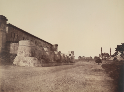Palace of Shuja ud-Daula at Lucknow (left) with the mosque of Aurangzeb in the far distance by Robert and Harriet Tytler, 1858. BL Photo 193(14)