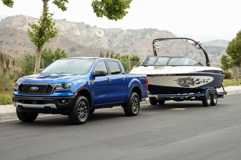 2019 Ford Ranger Towing Front View Boat
