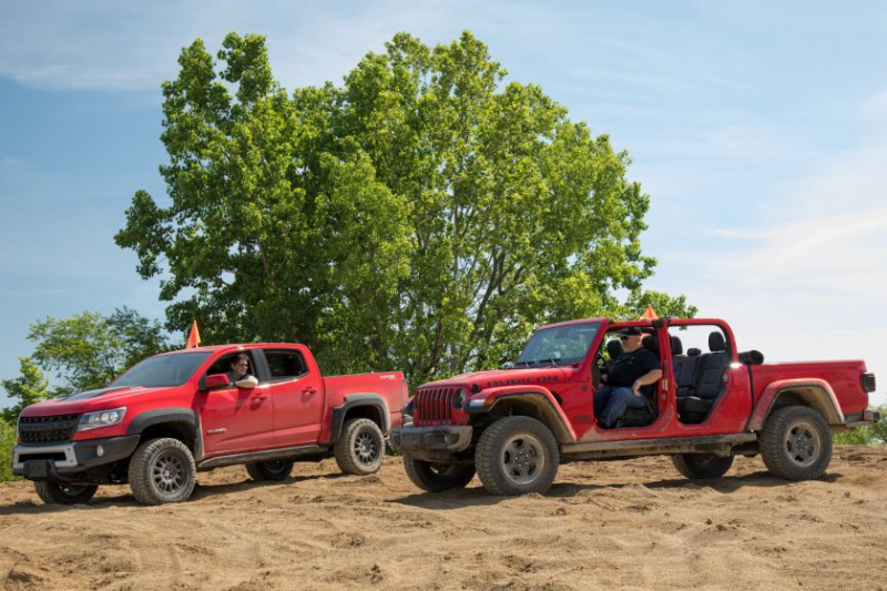 2019 Chevrolet Colorado ZR2 Bison and 2020 Jeep Gladiator Rubicon Side By Side In Sand
