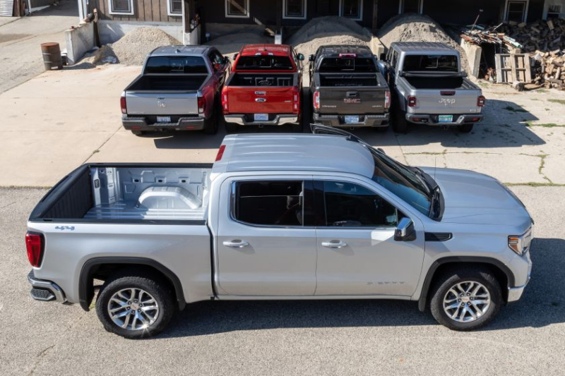 2019 GMC Sierra 1500 In Front of Four Mid-Size Pickups