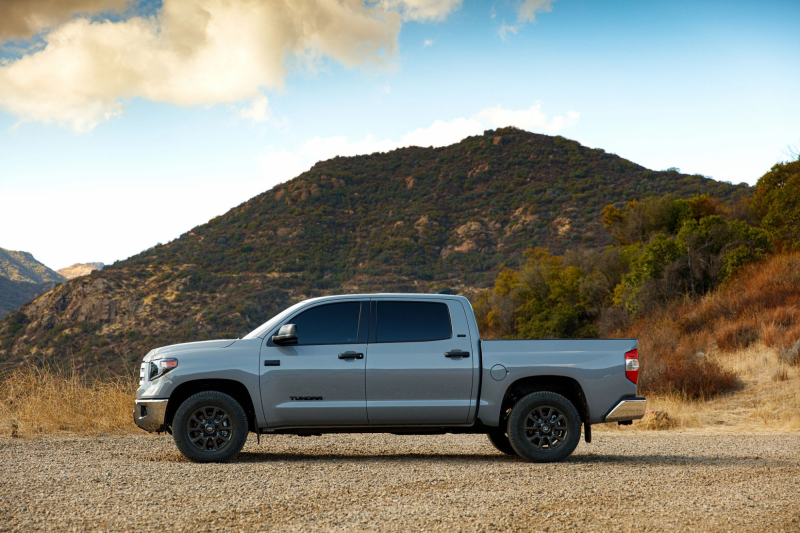 2021 Toyota Tundra Trail Special Edition Side Profile Against Mountain