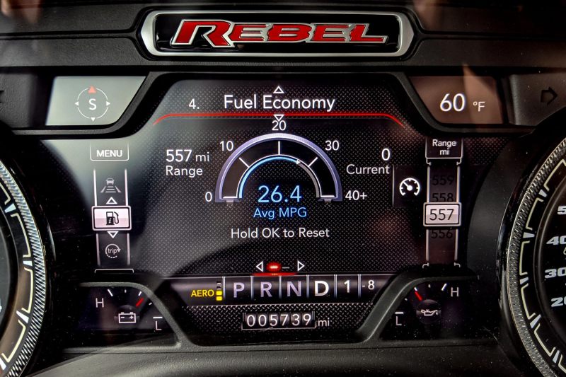 2020 Ram 1500 Rebel EcoDiesel 26.4 MPG Unloaded Dashboard Readout