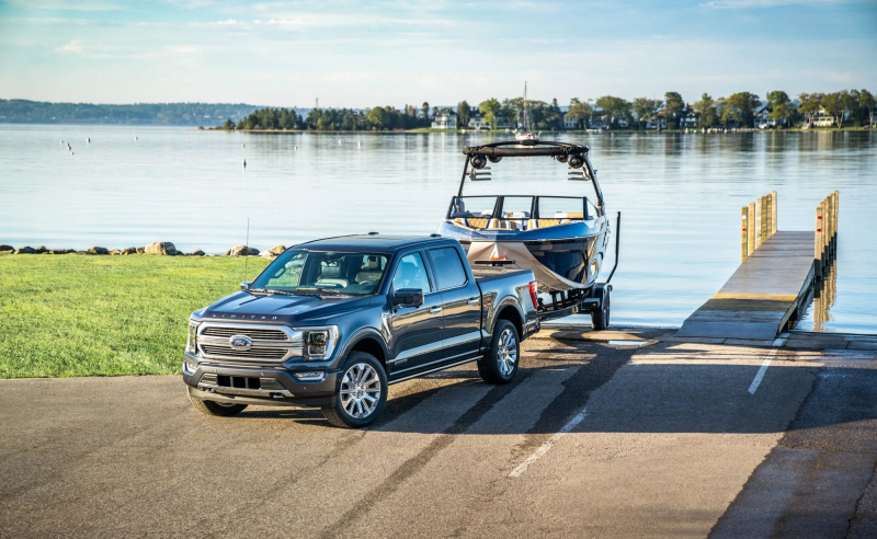 2021 Ford F-150 Towing Boat Out of Water