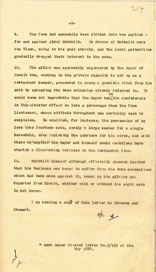 Fowle's light-hearted commentary on the final page of his letter to the Government of India regarding Muttalib's case, 5 May 1937 (IOR/R/15/1/506 f. 214).