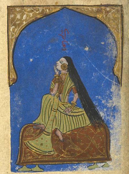 Dhanashri, the first rāginī of Malkausik (British Library Or.12857, f. 100r)