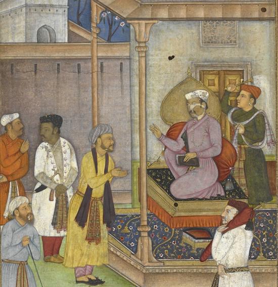 Burzuyah presents King Anushirvan with the book of Bidpai. Mughal, ca. 1605 (Add.18759, f. 6r)