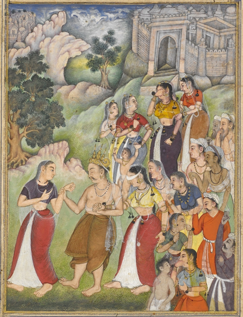 The blind king Dhṛtarāṣṭra, led by Kuntī, leaves the city of Hastinapur and retires to the forest. His wife Gāndhārī, blindfolded, supports him following behind. From the 15th book, the Aśramavāsikaparva (ʻRetirement to the Hermitage'). Painting attributed to Dhanū (Or.12076, f.110v)