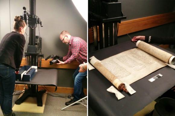Matt Casswell filming Kristin Phelps, former Senior Imaging Technician, handling an Esther scroll (British Library Harley 7620)