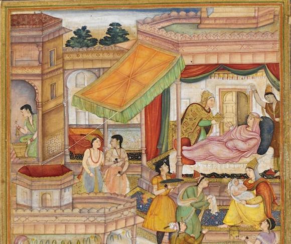 The baby Akbar and his mother Hamidah Banu Maryam Makani. Artists: Sanvalah and Narsingh (Or.12988, f. 22r)