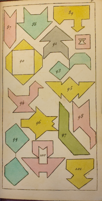 Tangram silhouettes from Lewis Carroll's Bedside Book - 'Entertainments for the Wakeful Hours', edited by Edgar Cuthwellis with illustrations by Lewis Carroll and Phuz (British Library X.529/34199)