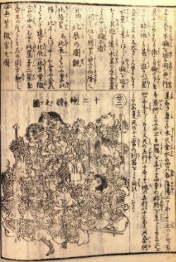 "Left: ""Great miscellany of calendrical and practical knowledge"" (Eitai daizassho banreki taisei  永代大雑書萬暦大成), 1856 reprint. Woodblock printed. Right: the same image has been modified to highlight the position of every animal (BL 16000.a.8)"