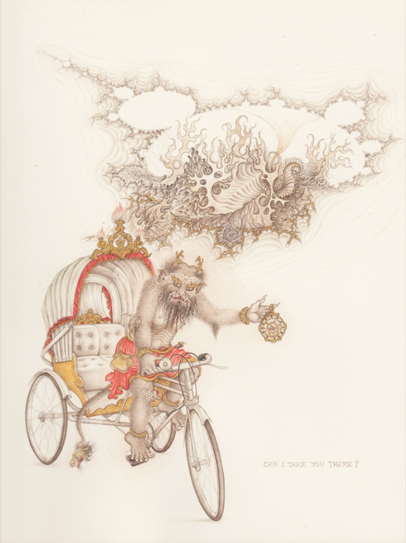 Can I take you there? (Demon on a rickshaw bound for the Mandelbrot set), brush drawing with pigment and gold. ⓒ Anita Chowdry