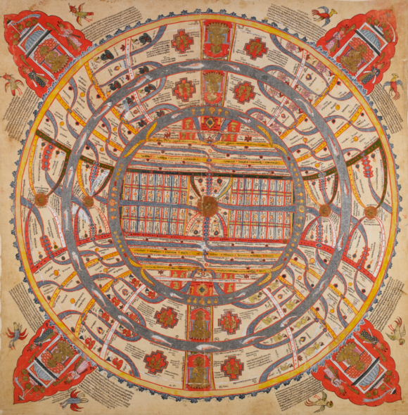 Aḍhāī-dvīpa, 'Two and a half continents'. Painting on cloth, 18th century (British Library Or 13937)