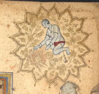 A Nath yogi as a border decoration. Mughal, 1605 (British Library Or.14139, f. 100v)