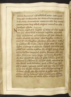 A page from a medieval manuscript handwritten in Latin