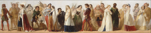 Procession of characters from Shakespeares Plays by an unknown artist