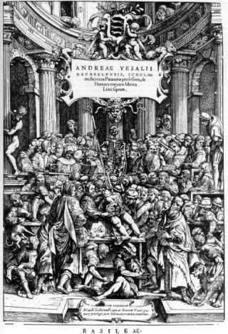 "The frontispiece of ""Fabric of the Human Body"", showing Vesalius dissecting a corpse in a classical theatre surrounded by a large group of allegorical figures."