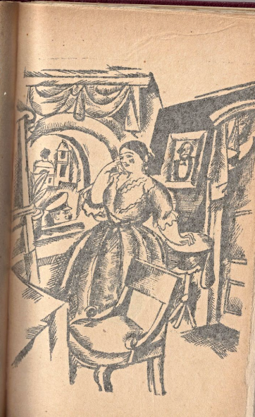 Illustration from 'Grozna' showing Katya Kabanova sitting at a window