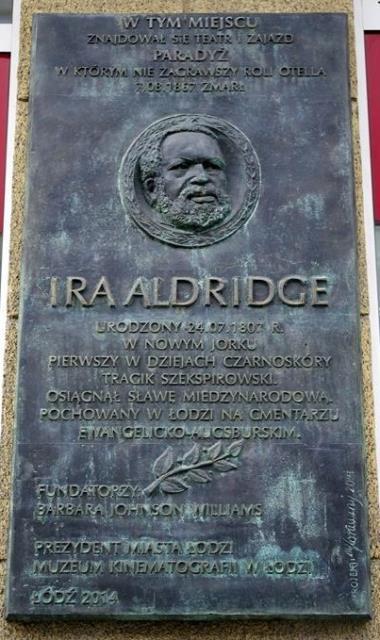 Ira Aldridge memorial plaque