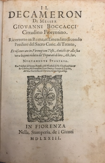 The title page of the 1573 Florence edition of the Decameron