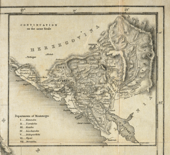 19th-century map showing Montenegro's administrative regions in the 19th century