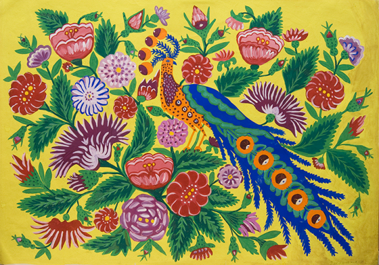 Painting of a peacock-like bird perched among flowers